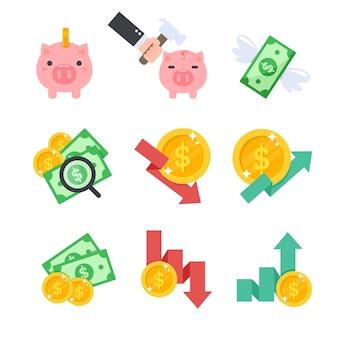Finanzen. sparschwein, gelddiagramm, finanzprüfung in einer volatilen wirtschaft.