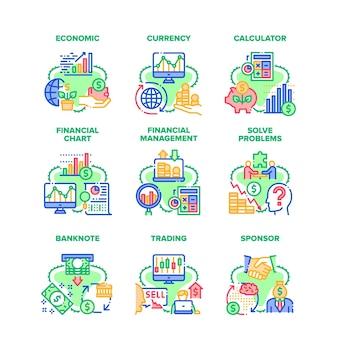 Finanzen wirtschaftliche set icons vektor-illustrationen. finanzen geld währung und rechner zur gewinnberechnung, finanzdiagrammforschung und -verwaltung, problemlösung und handel mit farbigen illustrationen