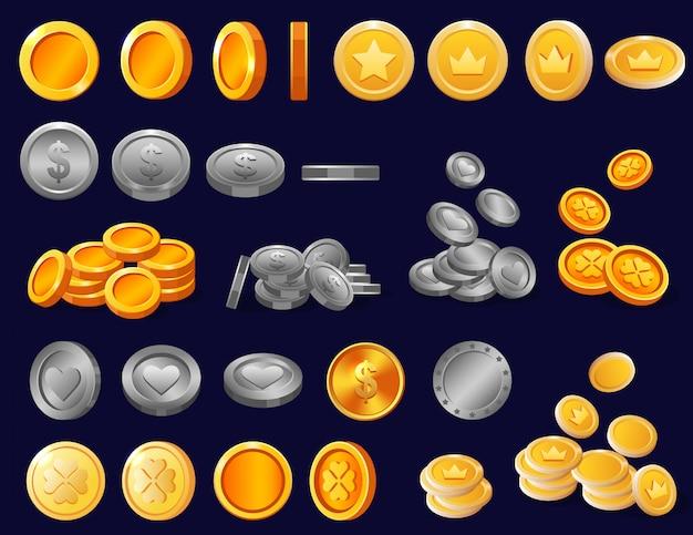 Finanzgeldbargeld des münzenvektors prägte goldene und goldmetallschatzikoneninvestition finanziellen satz einnahmenprägeeinsparungen