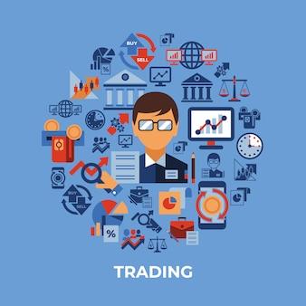 Finanzhandel und märkte icons sammlung
