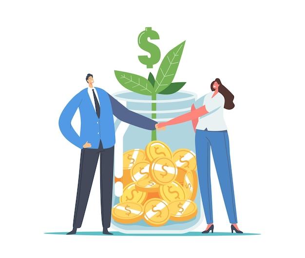 Finanzhilfe, investmentfonds-geschäftskonzept. büro-charaktere geschäftsmann und geschäftsfrau händeschütteln am riesigen glas mit goldmünzen, grünem sprout und dollarzeichen. cartoon-vektor-illustration