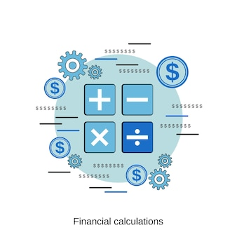 Finanzielle berechnung flache design-stil-vektor-konzept-illustration