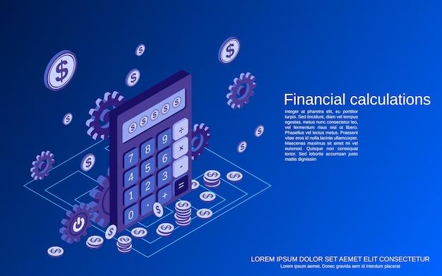 Finanzielle berechnungen flache isometrische 3d-konzeptillustration