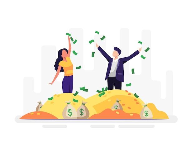 Finanzielle freiheit konzept illustration. frauen und männer freuen sich über die haufen geld, die sie haben. vektor in einem flachen stil