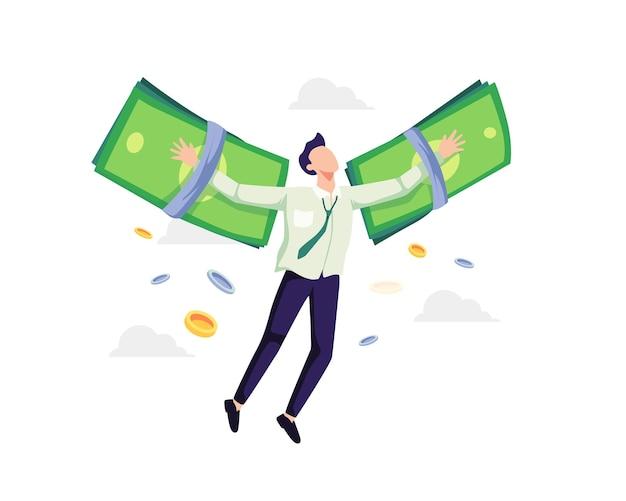 Finanzielle freiheit konzept illustration. geschäftsmann, der auf geldflügeln fliegt. vektor in einem flachen stil
