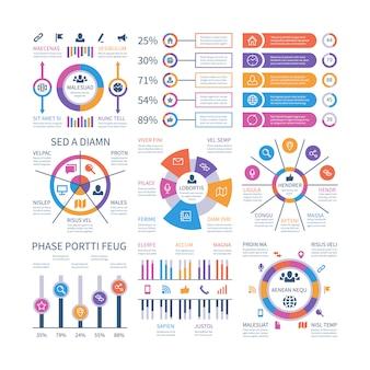 Finanzielle infografik. geschäftsbalkendiagramm und flussdiagramm, wirtschaftliche diagrammkreisdiagramme mit ikonen. präsentationsvektor infografiken