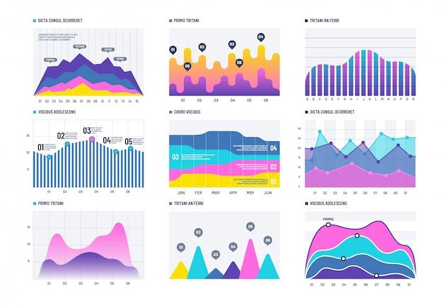Finanzielle infografik. geschäftsbalkendiagramm und linie histogramm, wirtschaftliches diagramm und aktienkurve.