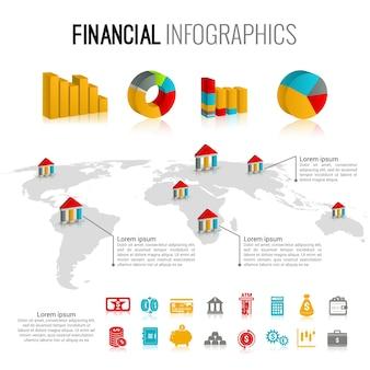 Finanzielle infographik festgelegt