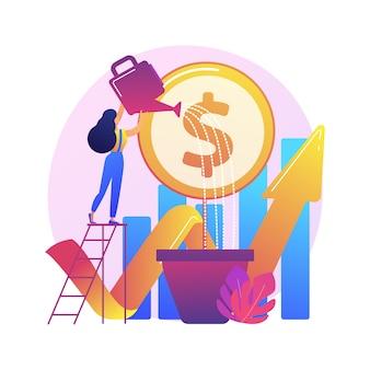 Finanzielle investition. markttrendanalyse, investition in lukrative bereiche, konzentration auf profitable projekte.