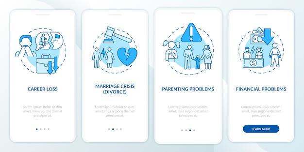 Finanzielle probleme beim onboarding des seitenbildschirms der mobilen app. midlife-crisis-walkthrough 4 schritte grafische anweisungen mit konzepten. ui-, ux-, gui-vektorvorlage mit linearen farbillustrationen