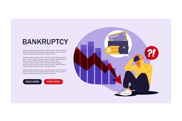 Finanzielle probleme und konkurskonzept. landingpage. depressiver junger mann sitzt und denkt darüber nach, geld zu finden, um rechnungen zu bezahlen. vektor-illustration. wohnung.