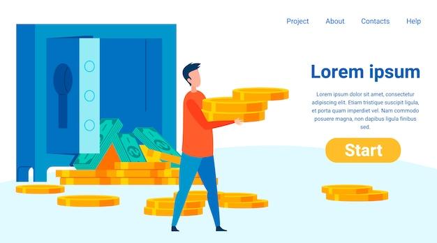 Finanzielle sicherheit flache landing page vorlage