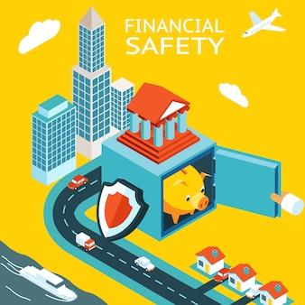 Finanzielle sicherheit und geldverdienen. safe mit sparschwein öffnen. wolkenkratzer, häuser.