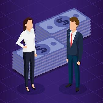 Finanzielle transaktion mit geschäftsleuten isometrische