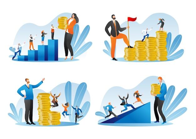 Finanzielle unterstützung, geldinvestitionssatz isoliert auf weiß