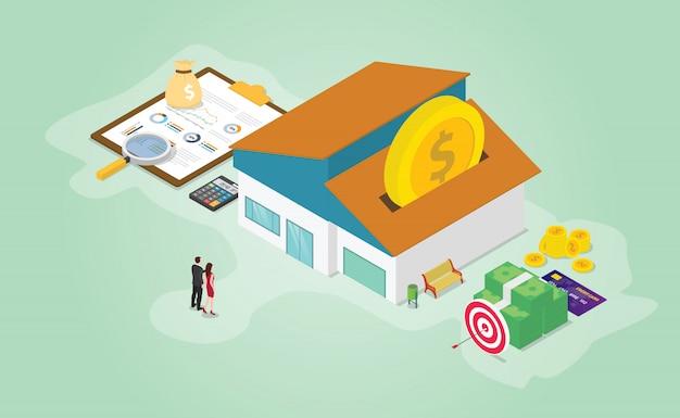 Finanzielle vorbereitung der hypothekeneinsparungen mit etwas geldrechner und haus mit isometrischer moderner flacher art