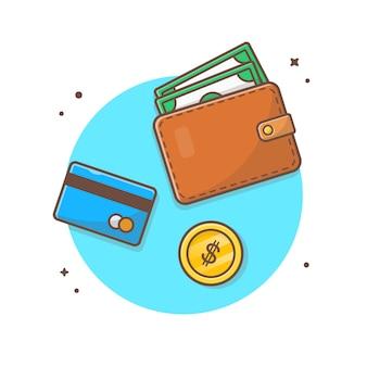 Finanzielle zahlung vektor icon illustration. geldbörse und debitkarte, goldmünze, geschäfts-ikonen-konzept