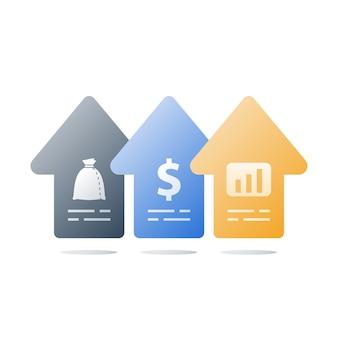 Finanzieller aufschwung, umsatzsteigerung, einkommenswachstum, geschäftsbeschleunigung