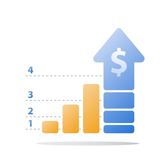 Finanzielles aufsteigendes diagramm, abbildung zur umsatzsteigerung