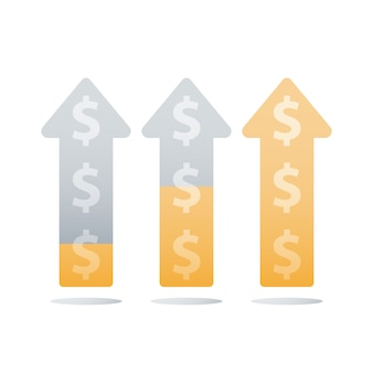 Finanzielles aufsteigendes diagramm, umsatzsteigerung, einkommenswachstum, geschäftsbeschleunigung