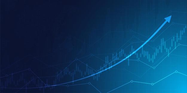 Finanzielles börsendiagramm zum handel mit börseninvestitionen bullischer punkt bärischer punkt