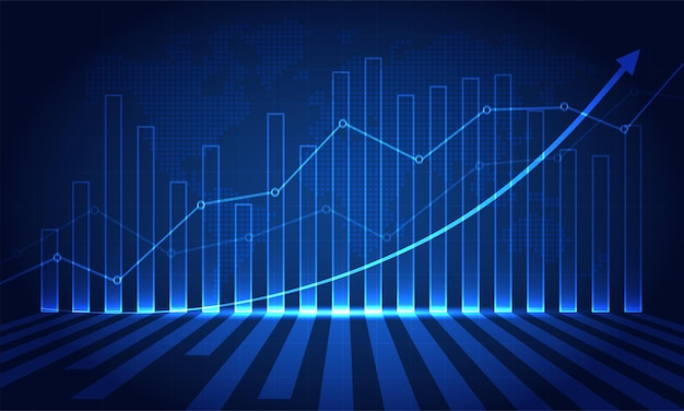 Finanzielles börsendiagramm zum handel mit börseninvestitionen bullish point bearish point trend