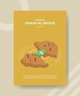Finanzielles brückenkonzept für vorlagenbanner und flyer mit isometrischem stilvektor