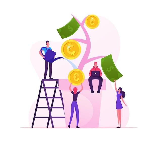 Finanzielles gewinn- und investitionskonzept. karikatur flache illustration