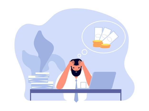 Finanzielles problem. geschäftsmannkopfschmerzen, geschäftsprobleme und arbeitsstress. frustrierter büromann braucht geld für die vektorgrafik von schulden. finanzielle probleme und krisen, mann mit kopfschmerzen