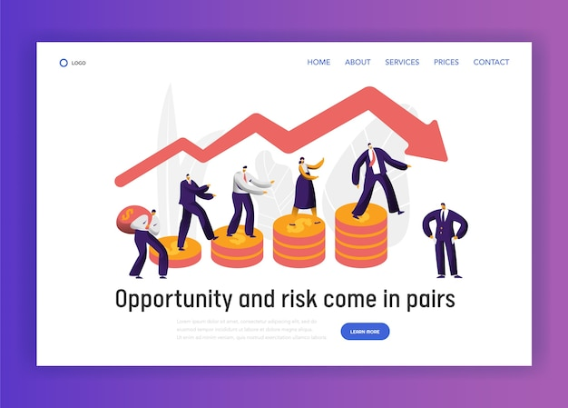 Finanzielles risiko business character graph konzept landing page. geschäftsmann walk on coin investment banner. trust economy bankrupt website oder webseite. flache karikatur-vektor-illustration