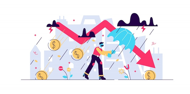 Finanzielles sturmkonzept der rezession, winzige illustration der geschäftsperson. rezession der weltwirtschaft und risiko des zusammenbruchs des globalen marktes. herausforderungen bei insolvenzverlusten und börsencrash-pfeil.