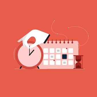 Finanzielles zeitmanagementkonzept, illustration zeitsteuerung und projektmanagement, tagesplaner mit kalender und uhr