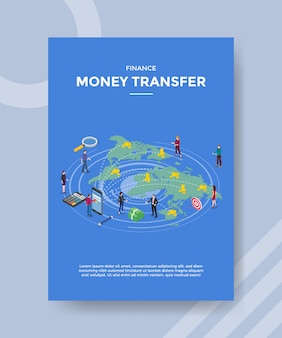 Finanzieren sie geldtransferleute, die vordere smartphone-kartenwelt für vorlage des banners und des flyers stehen