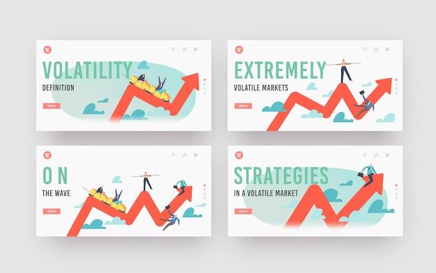 Finanzierung von investitionen volatilität landing page vorlagensatz. wandel im geschäft und krisenbörse, geschäftsleute, die auf achterbahn auf und ab fahren. cartoon-menschen-vektor-illustration