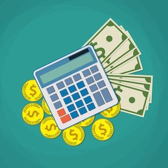 Finanzikone mit geld und taschenrechner