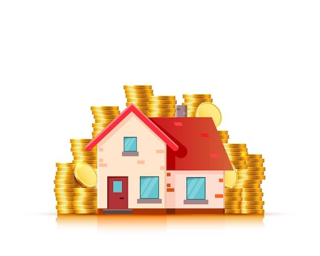 Finanzimmobilien, goldmünzen und haus. vektor-illustration