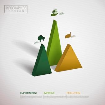 Finanzinfografik-vorlagendesign mit dreieckselement
