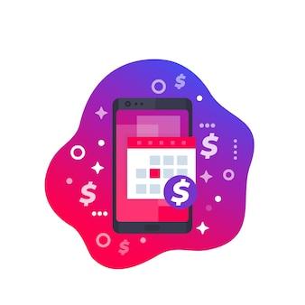 Finanzkalender-app im smartphone, vektorsymbol