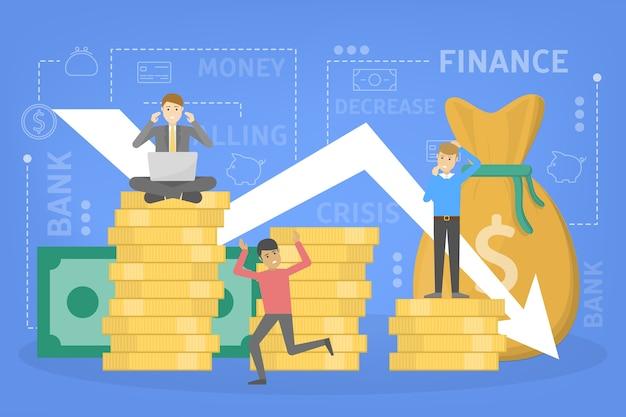 Finanzkrise mit fallender grafik und sinkendem geld. idee von insolvenz und risiko. flache vektorillustration