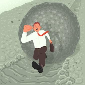 Finanzkrise oder schuldenbedrohungskonzept. ein verängstigter geschäftsmann rennt von einem felsbrocken weg, der den berg hinunter rollt. metapher. illustration im cartoon-stil