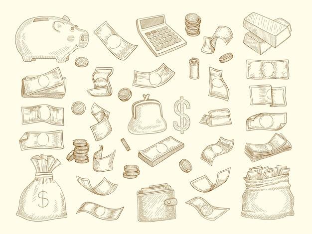 Finanzkritzeleien. geld und geschäftselemente unternehmensobjekte münzen dollar diagramme sparbüchsen illustrationen. bankwährung finanzieren, bargeld verdienen