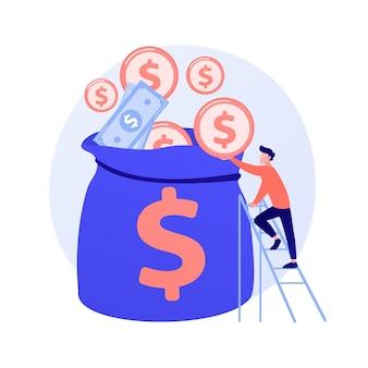 Finanzmanagement. budgetbewertung, finanzkompetenz, buchhaltungsidee. finanzier mit bargeld, wirtschaftswissenschaftler mit goldener münze zeichentrickfigur.