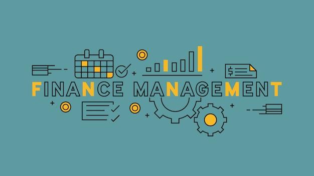 Finanzmanagement flat line design