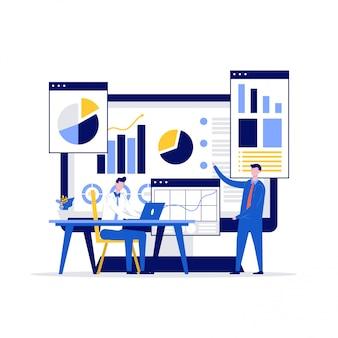 Finanzplanungs-illustrationskonzept mit zeichen. zwei geschäftsleute diskutieren und analysieren daten.