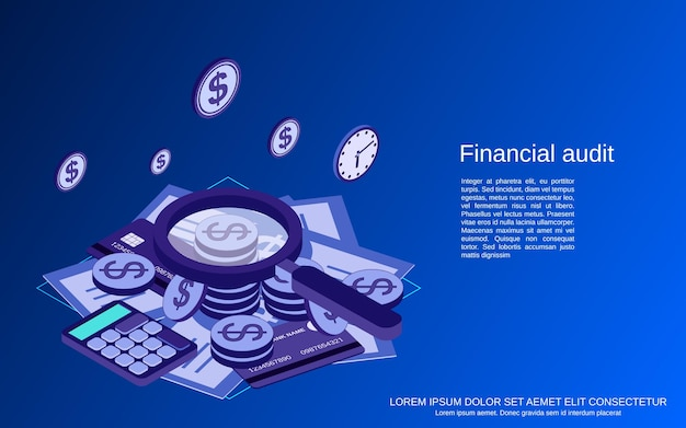 Finanzprüfung, analytik, kontrolle, statistik flache isometrische vektorkonzeptillustration