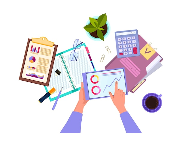 Finanzprüfung und geschäftsanalyse in draufsicht