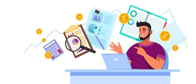 Finanzprüfungsanalyse mit jungem berater