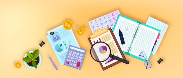 Finanzprüfungsgeschäft mit flat-lay-dokumenten