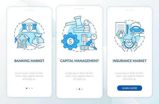 Finanzrechtliche regulierung beim onboarding der mobilen app-seitenseite. walkthrough zum geldmanagement in 3 schritten, grafische anweisungen mit konzepten. ui-, ux-, gui-vektorvorlage mit linearen farbillustrationen