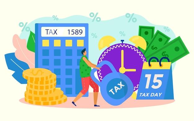 Finanzsteuer, konzept der hohen geldsätze, vektorillustration. winzige flache mannfigur hält finanzielles gewicht, steht in der nähe des taschenrechners, kalender mit schuldenzahlungsdatum. personenstress über wirtschaftsproblem.
